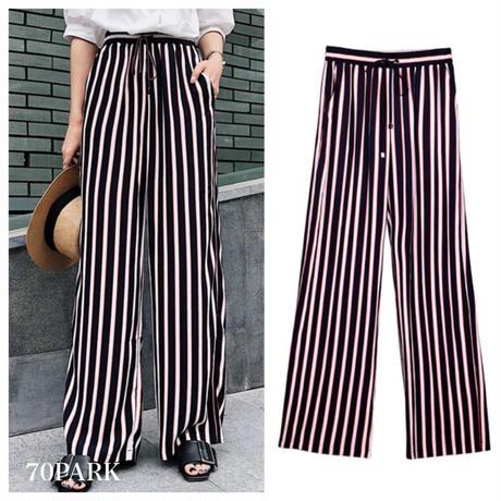 #Striped Wide Leg Pants ストライプ柄 ネイビー×レッド ワイドパンツ リゾート