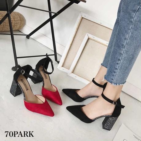 #Pointed Toe Ankle Strap Glitter Heels   グリッター ヒール アンクルストラップ 美脚 パンプス 全2色