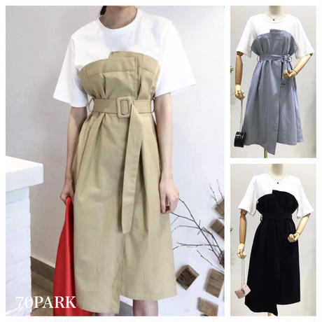 #Layered T-shirt Dress ベルト付 ビスチェ レイヤード風  ワンピース  全3色