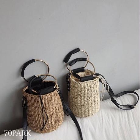 # 2way メタルハンドル かご バケツバッグ 全2色