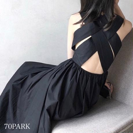 #Cross Back Flare Dress バッククロス フレア ワンピース ブラック