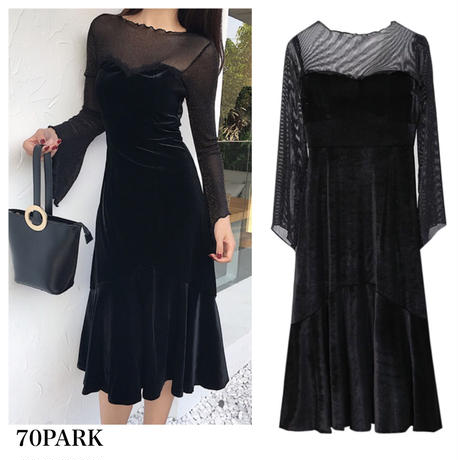 #See-through Velvet Dress ベロア シースルー  フレア ワンピース 黒 パーティー