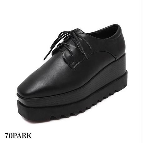 #Black Platform Oxford Shoes  プラットフォーム 厚底 オックスフォードシューズ   ブラック
