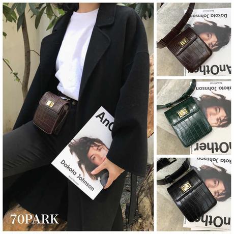 #Crocodile Pattern  Waist Belt Bag クロコ 型押し ミニ ウエストポーチ 全2色 ベルト バッグ