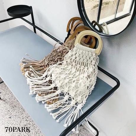 #Crochet Fringe  Handbag   ポーチ付 クロシェ編み フリンジ ハンドバッグ 全4色