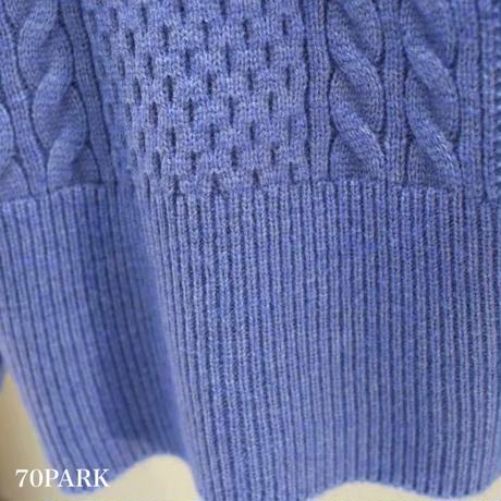 #Square Neck Cable Knit Top スクエアネック ケーブル編み 長袖 ニット 全4色