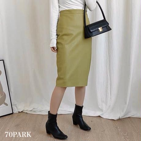#High Waisted Faux Leather Midi Skirt  ハイウエスト フェイクレザー  ミディ スカート 全4色