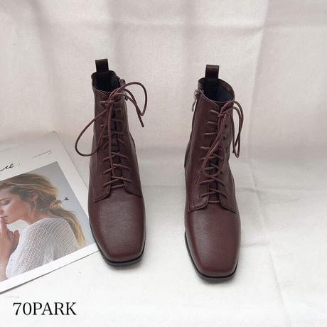 #ソフト フェイクレザー レースアップ ローヒール ブーツ 全2色