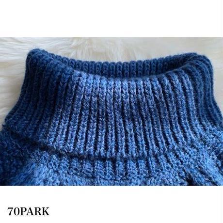 #Turtleneck Cable Knit Sweater  タートルネック ケーブル ニット 長袖 トップス 全2色