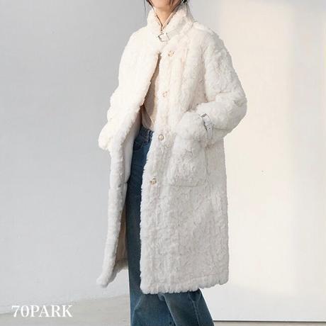 #Faux Fur Belted Coat  パールボタン フェイクファー  ベルテッド コート 全2色