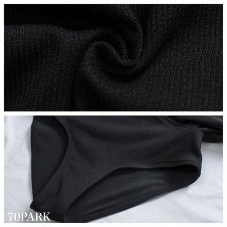 #Asymmetric Ruffle Swimsuit アシンメトリー フリル 両V ワンピース 水着 全2色