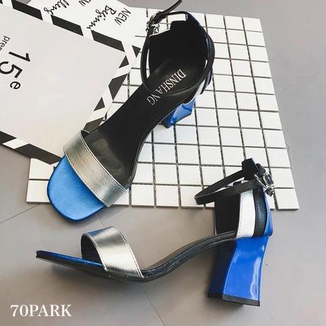 #Mix Color Block Sandals ミックス カラー ブロック チャンキーヒール サンダル 全3色
