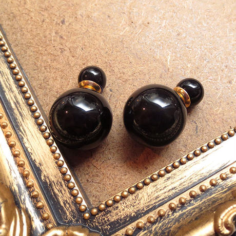 #Black Double Pierced Earring ブラックダブルピアス