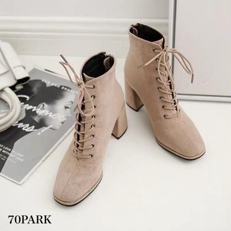 #Faux Suede Lace Up Boots  スエード調 ポインテッドトゥ レースアップ ブーツ 全2色