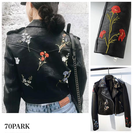 #Floral Embroidered Faux Leather Jacket    フラワー 刺繍 ライダース ジャケット ブラック ショート