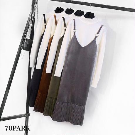 #Velvet  Cami Dress  Set ベロア キャミワンピース × ニットトップス 2点セット 全4色