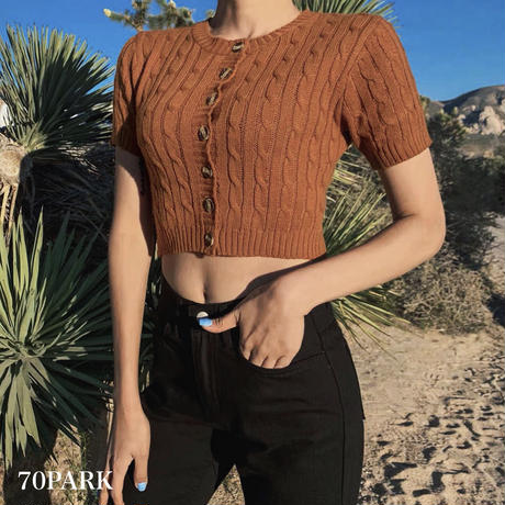 #Cable Knit Button-Front Crop Top  フロントボタン 半袖 ケーブル サマーニット トップス 全4色