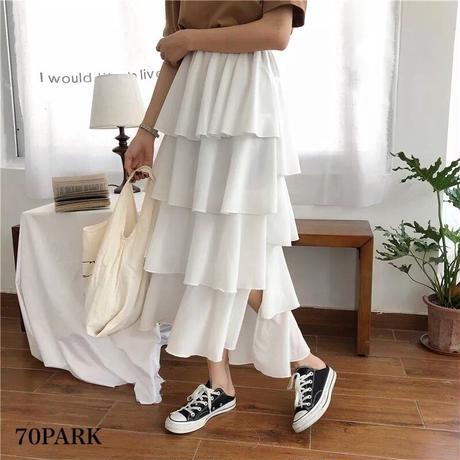 #Tiered Slit Skirt  サイドスリット入り ボリューム ティアード スカート 全2色