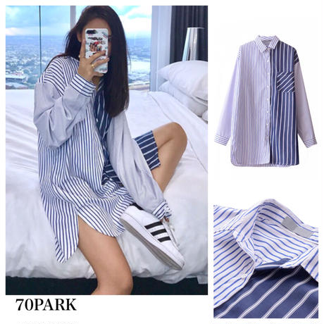 #Oversized Stripe Shirt  オーバーサイズ ストライプ柄 切り替え シャツ ブルー 長袖
