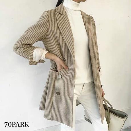 #Striped Tailored Jacket  ストライプ柄  ベージュ ダブル テーラード ジャケット