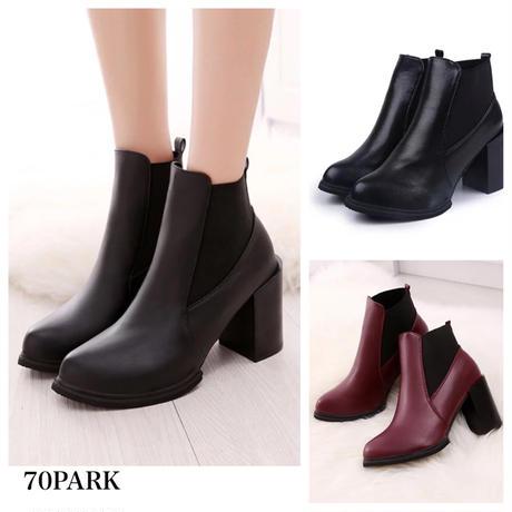 #Side Gore Short Boots 太ヒール サイドゴア シンプル ショートブーツ  全2色