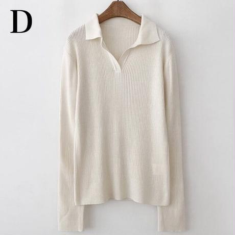 #Long Sleeve Knitted Polo shirt  襟付き 長袖 リブ ニット トップス 全4色 ポロシャツ