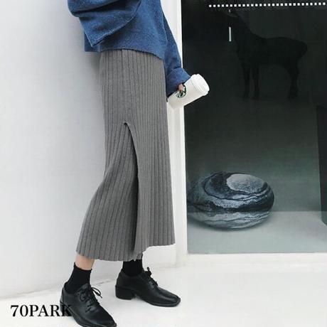 #Split Ribbed Midi Skirt  スリット入り ミディ丈 リブ ニット スカート 全4色