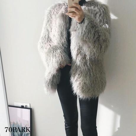 #Shaggy Faux Fur Jacket  シャギー エコファー ボリューム ジャケット 全4色  コート