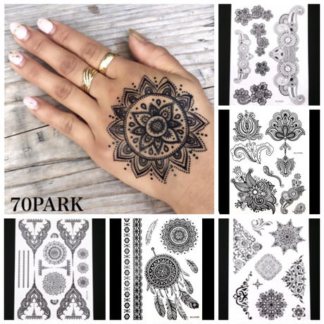 #Black Henna Tatto Sticker ブラック ヘナ タトゥー シール ステッカー