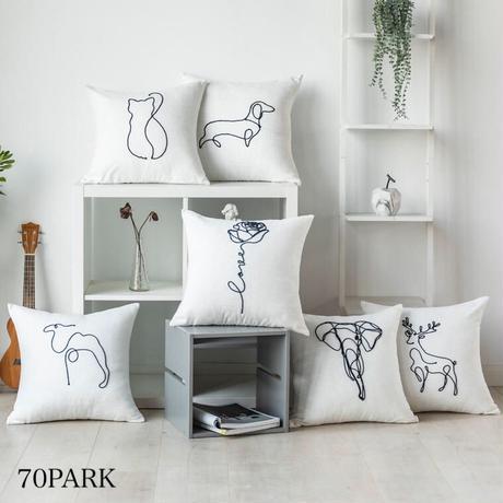 #モチーフ 線画 刺繍 シンプル クッションカバー 全6タイプ