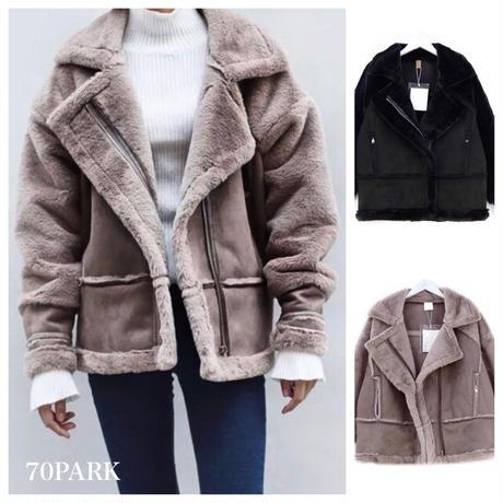 #Faux Fur Mustang Jacket フェイクファー ボリューム ムスタン ジャケット 全2色  コート