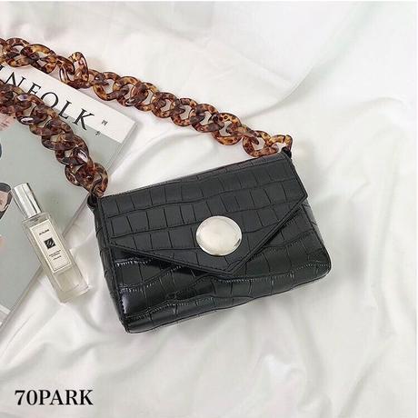#Tortoise Shell Chain Flap Bag  べっ甲 チェーン クロコ型押し ショルダーバッグ  ブラック