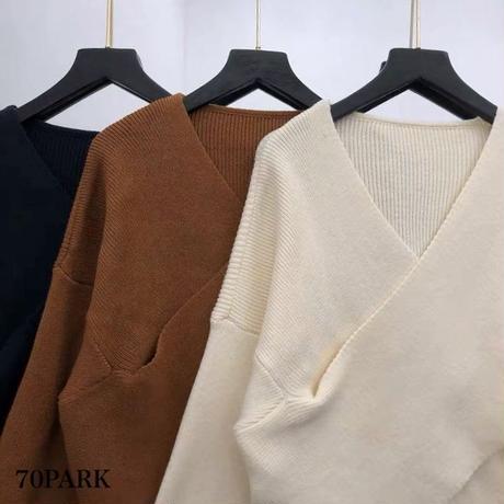 #Front  Cross Knit  Sweater フロント クロス Vネック ニット トップス 全3色