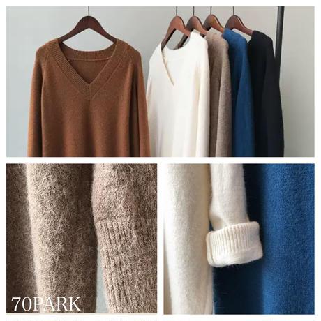 #Vネック シンプル ロング ニット ワンピース 全5色 セーター