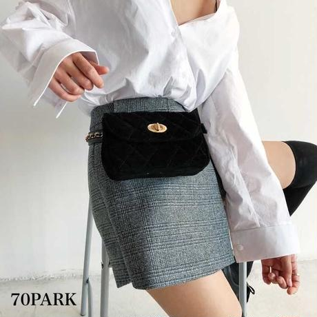 #Quilted Chain Waist Pouch Bag  キルティング チェーン ウエストポーチ バッグ ブラック
