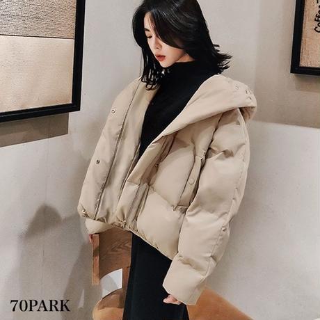#Hooded Padded Jacket  フード付 カラー 中綿 ジャケット 全2色 ダウンジャケット