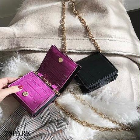 #Croc Embossed Wallet Bag クロコ型押し チェーンショルダー お財布 バッグ 全4色 マイクロ