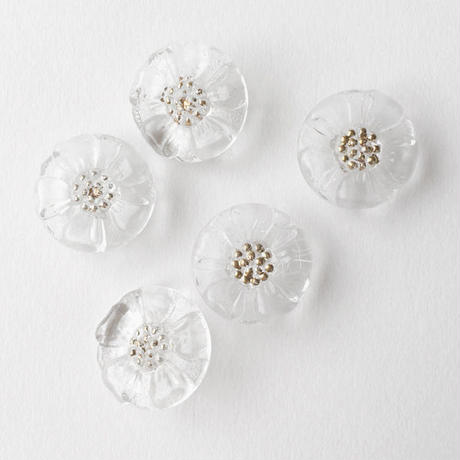 VINTAGE FLOWER GLASS BUTTON