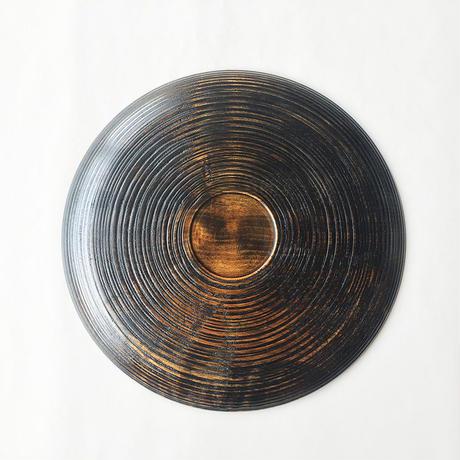 丸盆 がら筋象谷塗 21cm