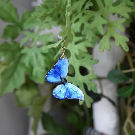 蝶のピアス メネラウスモルフォblue.col 3Ssize (片耳用)