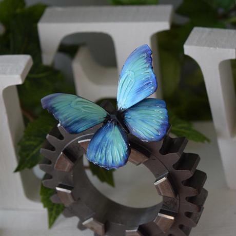 蝶のマグネット メネラウスモルフォ Emarald +Pearl blue Ssize 試作