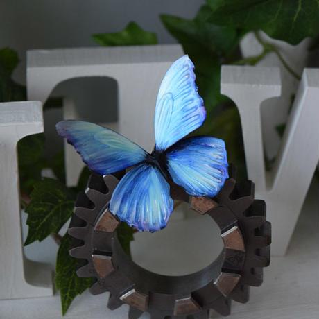 蝶のマグネット メネラウスモルフォ Aqua+Pearl blue Msize 試作