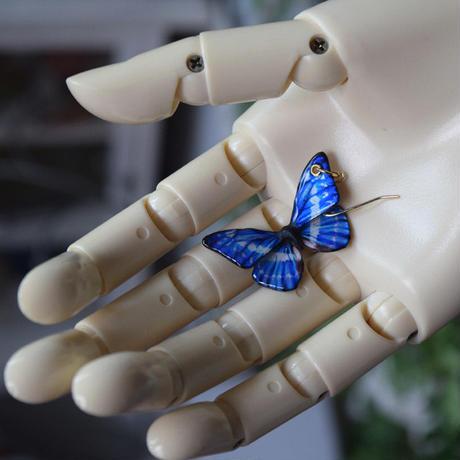 キプリスモルフォのピアス blue PLUS.col 3Ssize (片耳用)