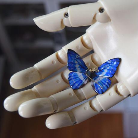 キプリスモルフォのピアス blue PLUS.col 2Ssize (片耳用)