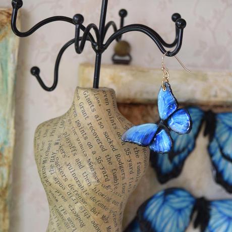 メネラウスモルフォのピアス blue.col 3Ssize(片耳用)
