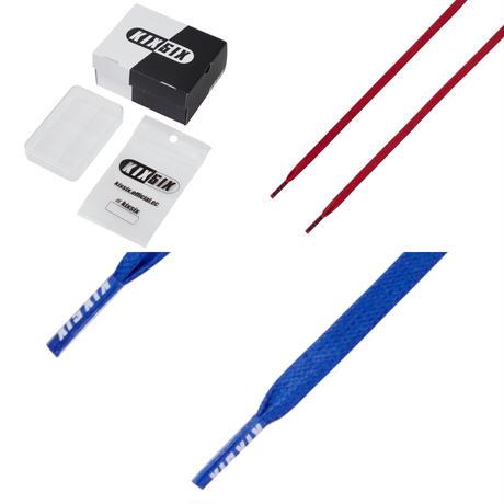 KIXSIX LOGO TIP WAXED SHOELACE 2P BOX - RED-BLUE/CLEAR