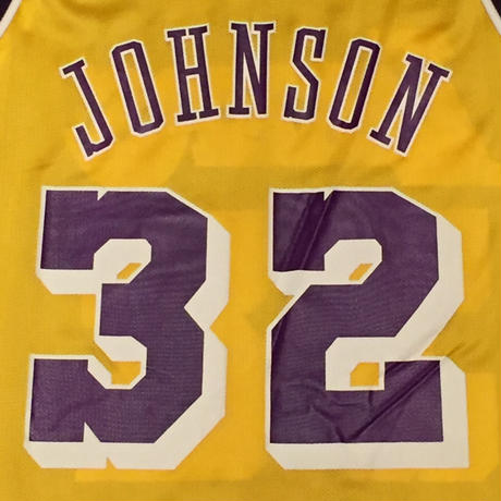 ☆1990's EARLY・アメリカ製 -【VINTAGE】【USED】CHAMPION LAKERS #32 JOHNSON REPLICA