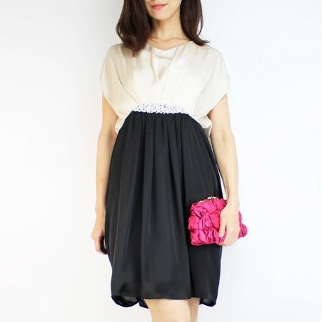 apres jourバックリボン袖付パール刺繍ドレス_0111461