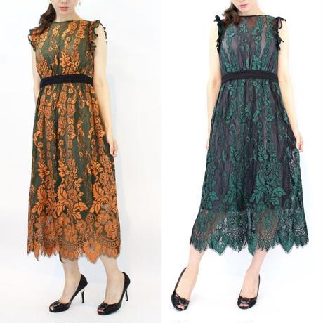 配色レースミディアムロングドレス
