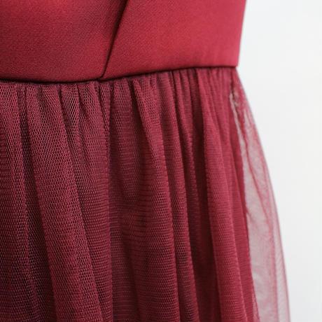 ビスチェ風チュールテールスカートドレス